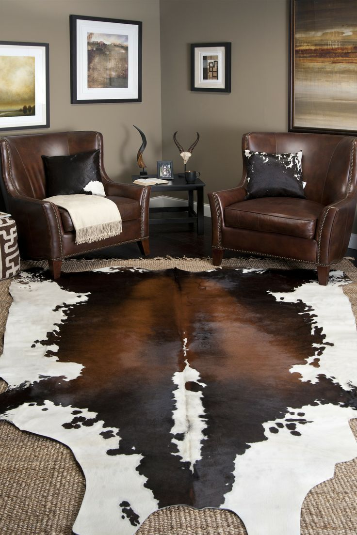 Interior decor ideas area rugs cowhide rug decor living How to buy an area rug for living room