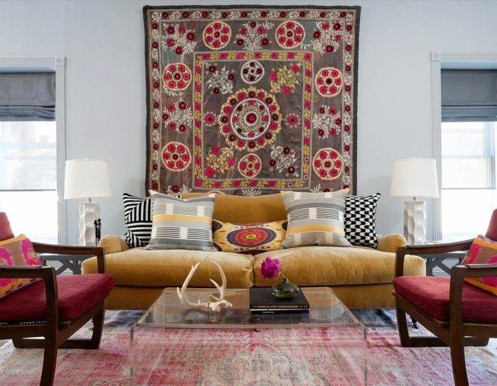 wanddeko ideen teppich farbige wohnzimmermöbel Wandgestaltung