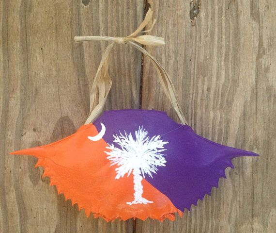 Clemson Christmas Tree: Hand Painted Clemson Orange And White Ornament With South