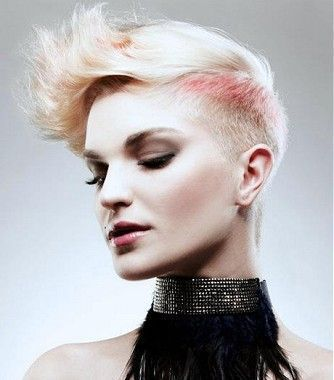 a short blonde straight coloured platinum spikey shaved