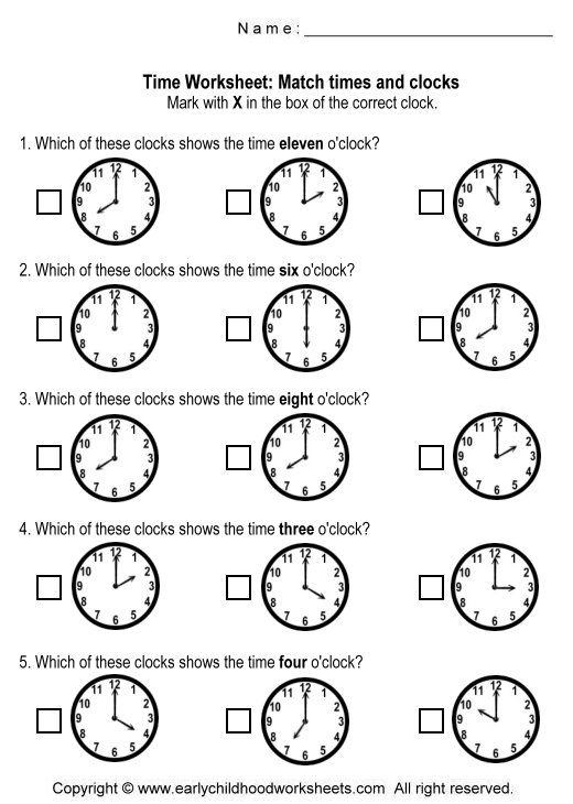 clock worksheets | Matching Time and Clocks Worksheets - Worksheet ...