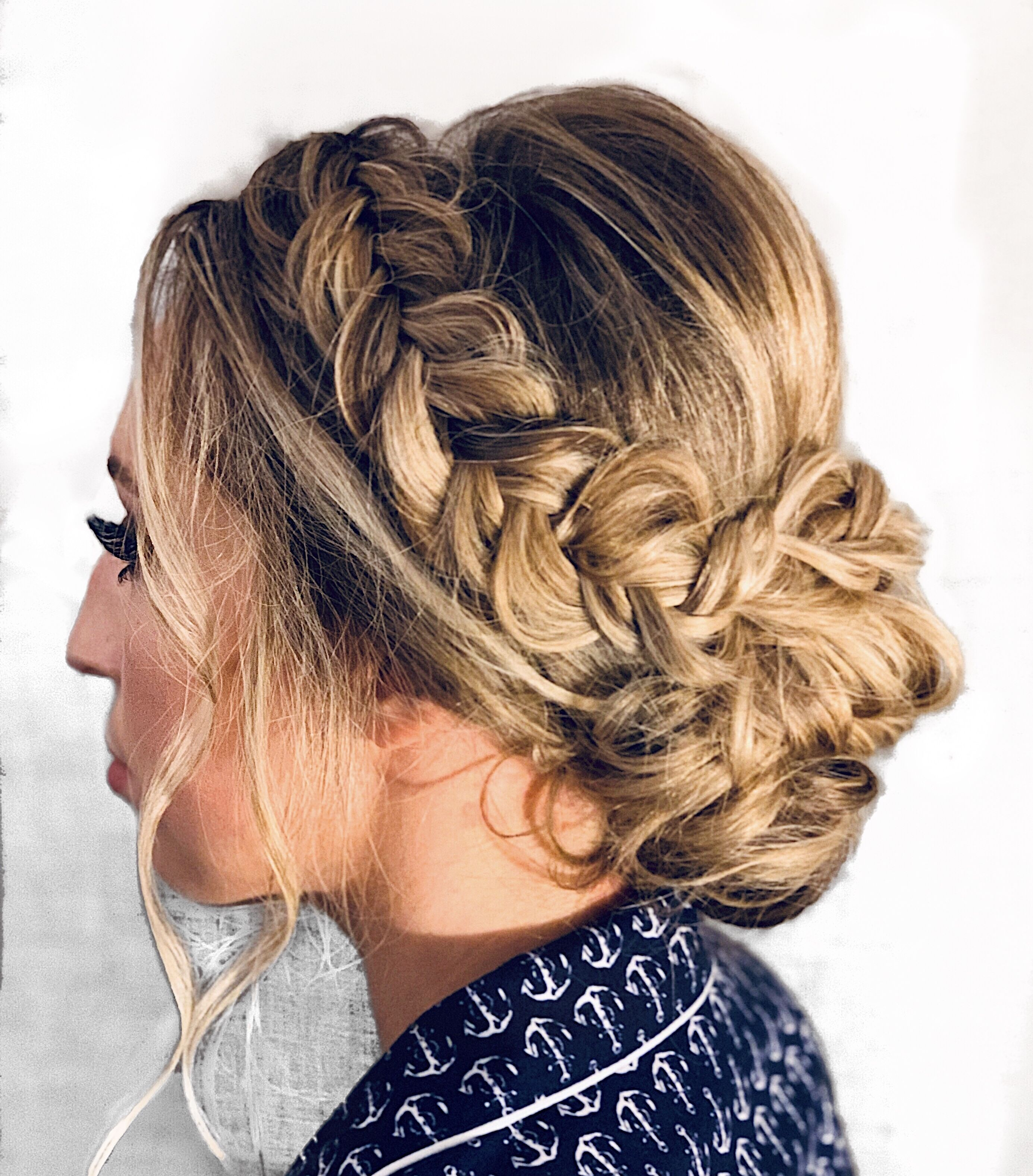 Fishtail Bridal Braid Into A Low Bun Updo Loose And Textured For