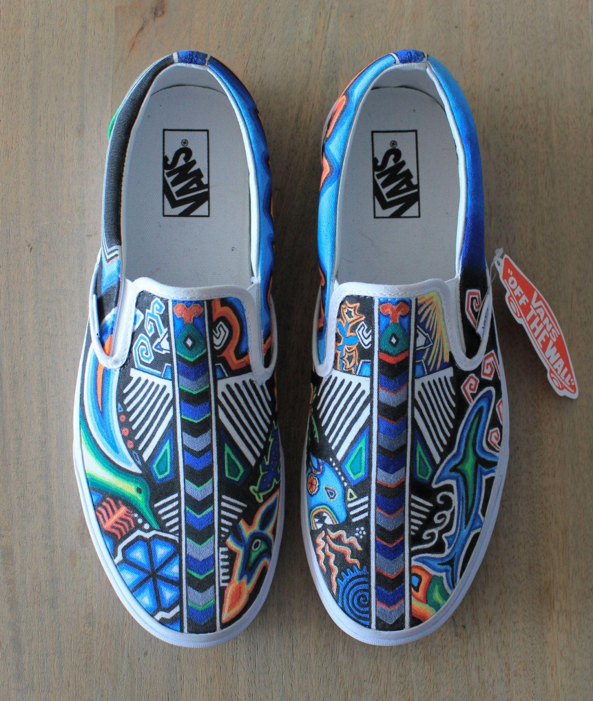 05092909b2 Custom Painted Huichol Shoes by DomiErikato on Etsy