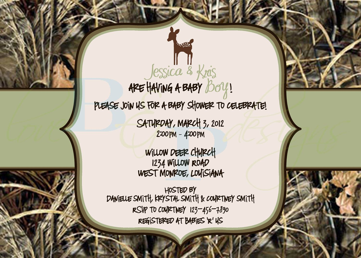 Camo Baby Shower Invitations Baby Shower Camo Deer Baby Shower
