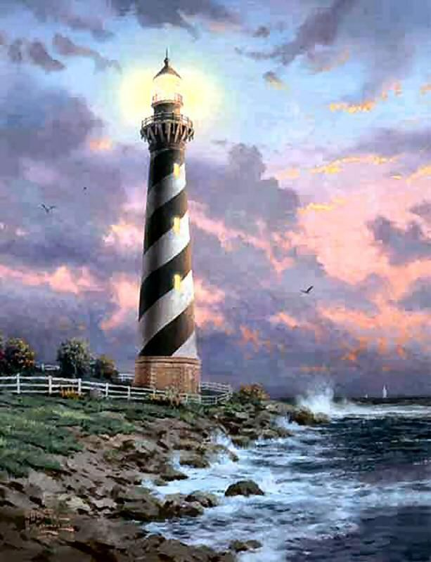 Dbl Signed Cape Hatteras RARE 24x18 G/P Limited Thomas Kinkade Lighthouse Canvas