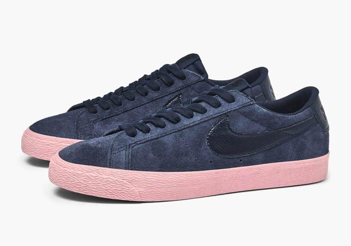369ef36677985 Nike SB Blazer Low Navy + Pink Store Links