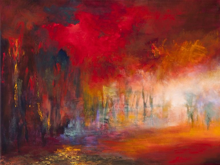 """Saatchi Online Artist: Rikka Ayasaki; Acrylic, Painting """"Passions, Boulogne forest 7024"""""""
