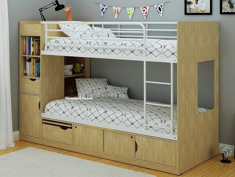 3ft Platinum Bunk Beds With Extra Storage Oak Beech White
