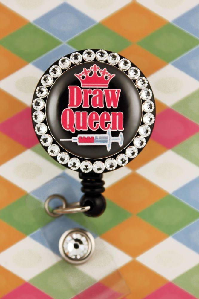 Retractable Badge Reel Name ID Pull Clip Holder Lanyard Phlebotomist CPT Gift