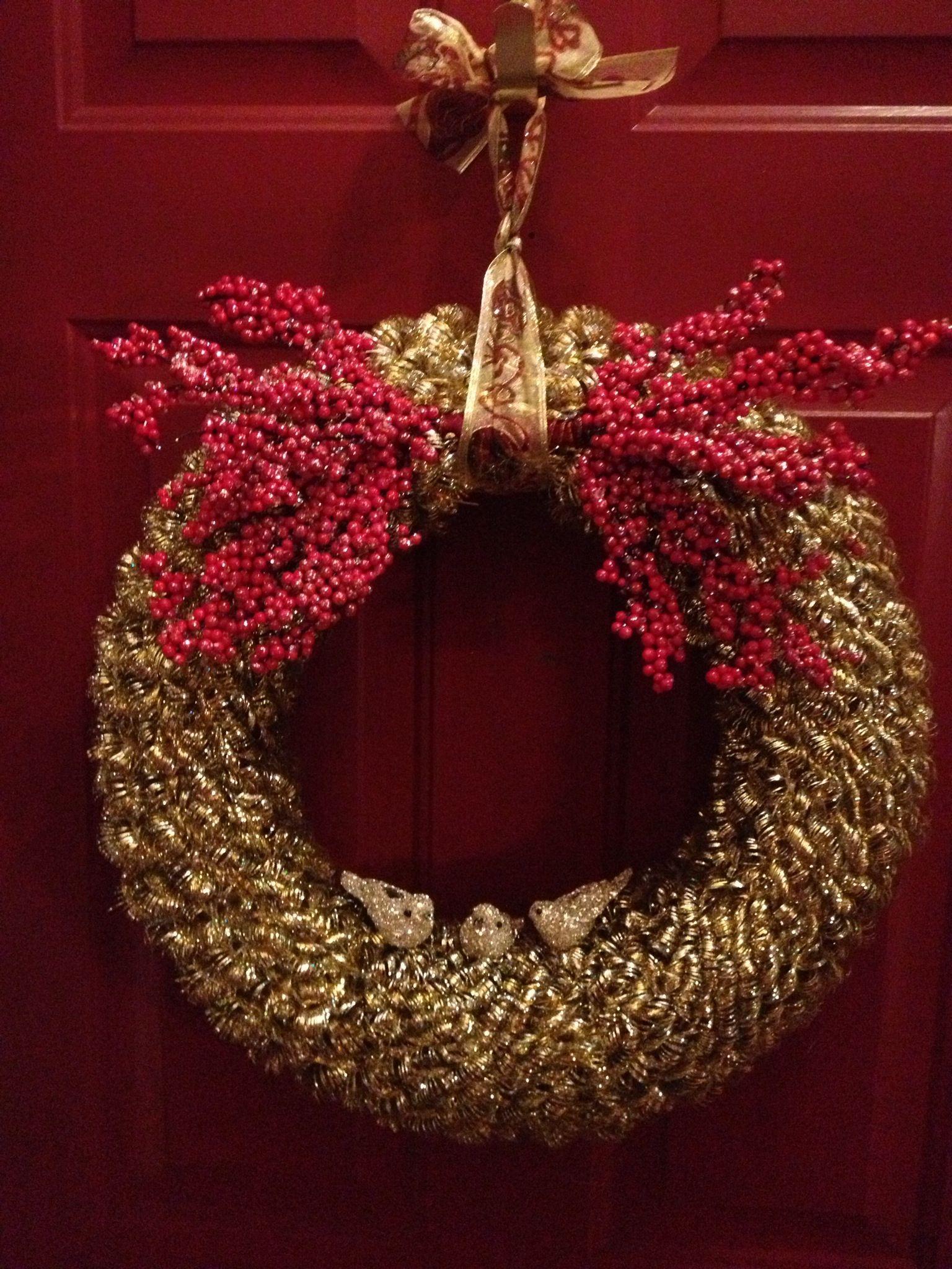 My latest project. Tinsel garland wreath Tinsel garland