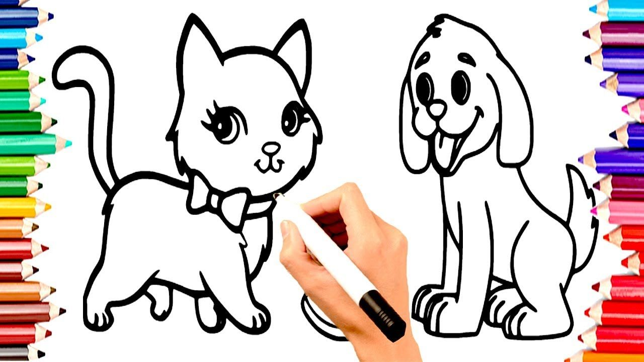 TEACH CHILDREN DRAW ANIMALS CAT & DOG COLORING BOOK PAGES   KIDS ...