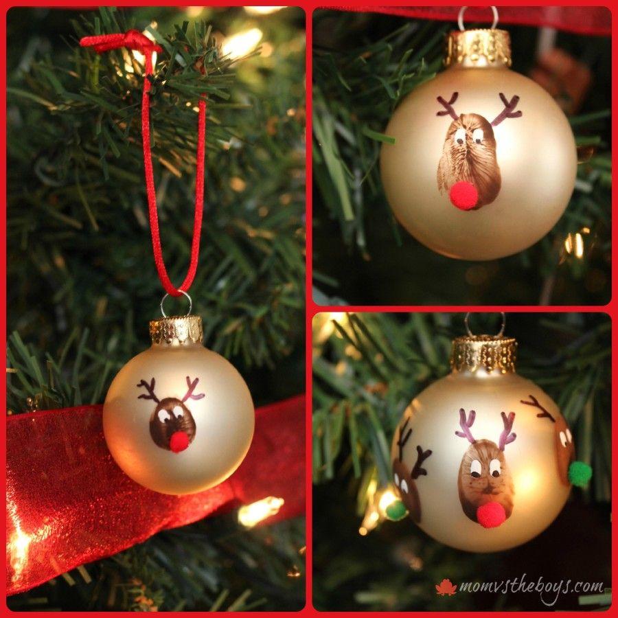 Reindeer Thumbprint Ornaments Christmas Ornaments Homemade Kids Kids Christmas Ornaments Christmas Ornaments Homemade