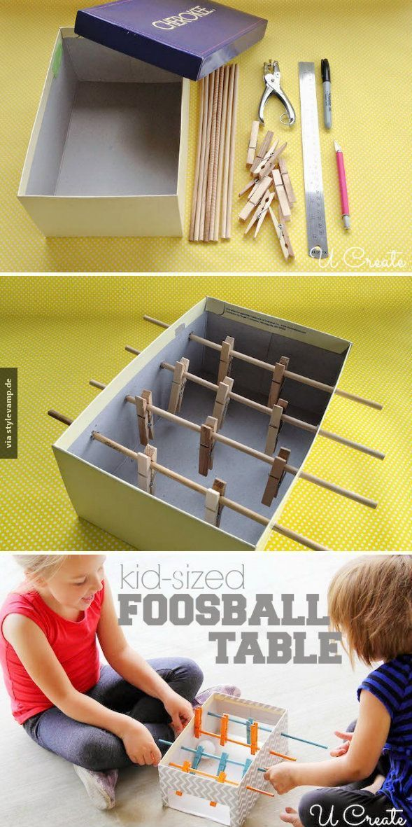 do it yourself tisch fu ball im mini format diy pinterest kinder basteln und kinder. Black Bedroom Furniture Sets. Home Design Ideas