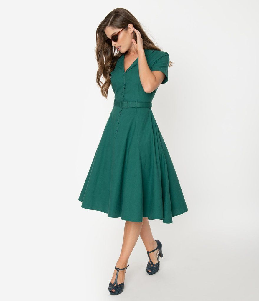 Collectif 1950s Emerald Green Cotton Caterina Swing Dress Unique Vintage Swing Dress Fashion Unique Dresses [ 1023 x 879 Pixel ]