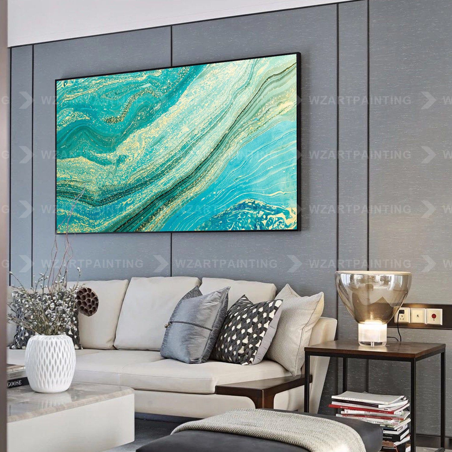 Abstract Wave Green Blue Acrylic Print On Canvas Painting Wall Etsy Wall Art Canvas Painting Abstract Waves Acrylic Prints
