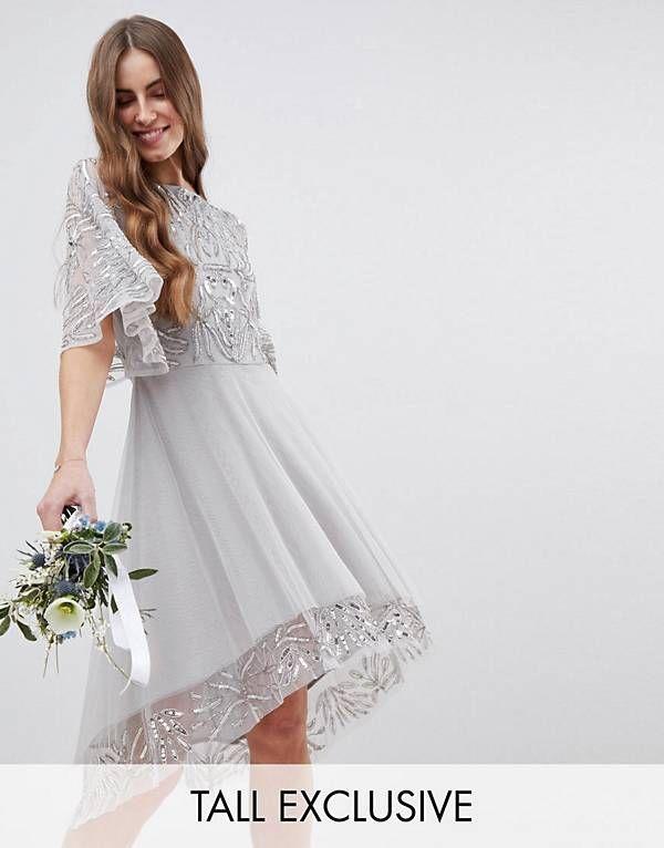Maya Tall – Midi-Brautjungfernkleid mit Pailletten-Cape und nach ...