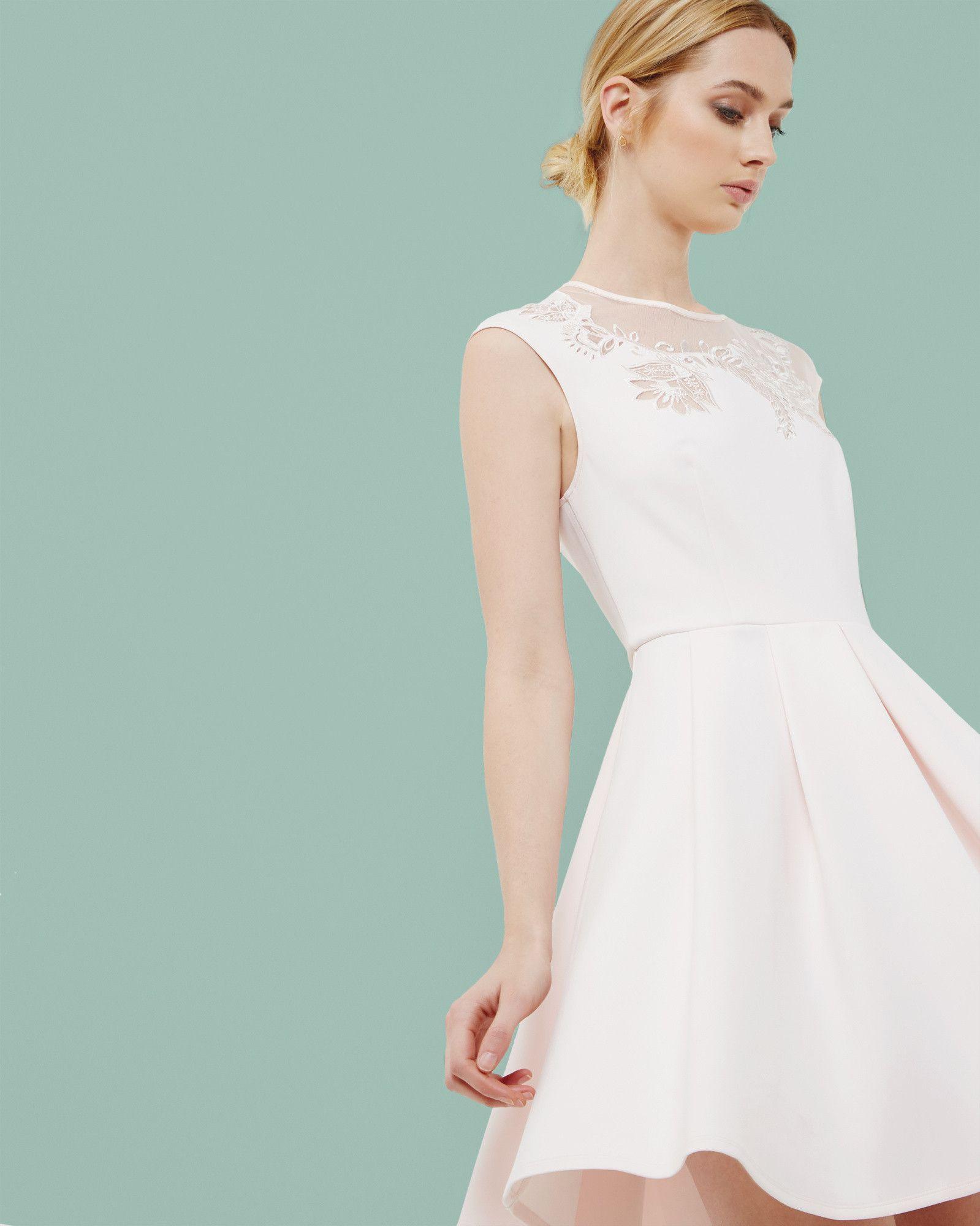 Embroidered mesh detail skater dress - Pink | Dresses | Ted Baker ...
