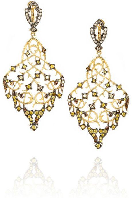 Loree Rodkin Thorn Leaf 18 Karat Gold Diamond Earrings