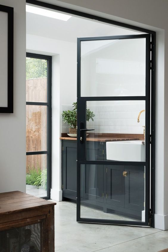 Merveilleux Black Metal Frame Glass Doors For The Kitchen Nook