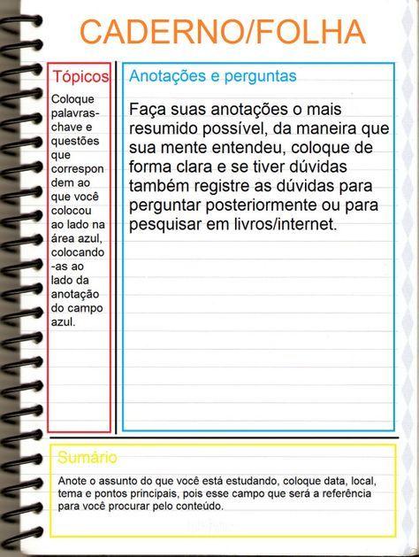 Metodo De Anotacoes Cornell Note Metodos De Estudo Como