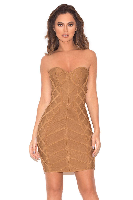 Naenia Light Tan Strapless Bandage Dress Bandage Dress Bodycon Bodycon Dress Dresses [ 1500 x 1000 Pixel ]