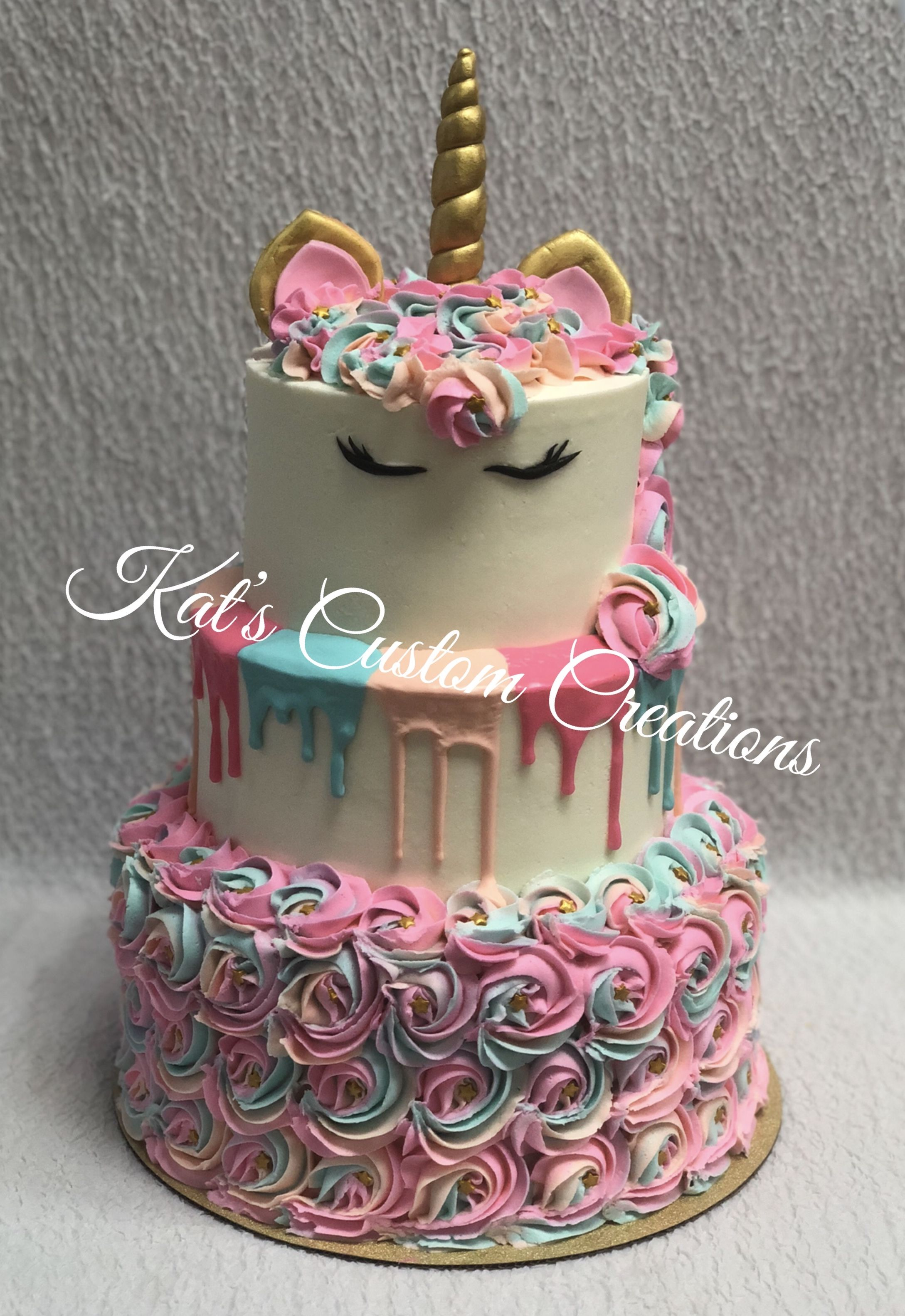 3 Tier Unicorn, Drip, and Rosette Cake!!!