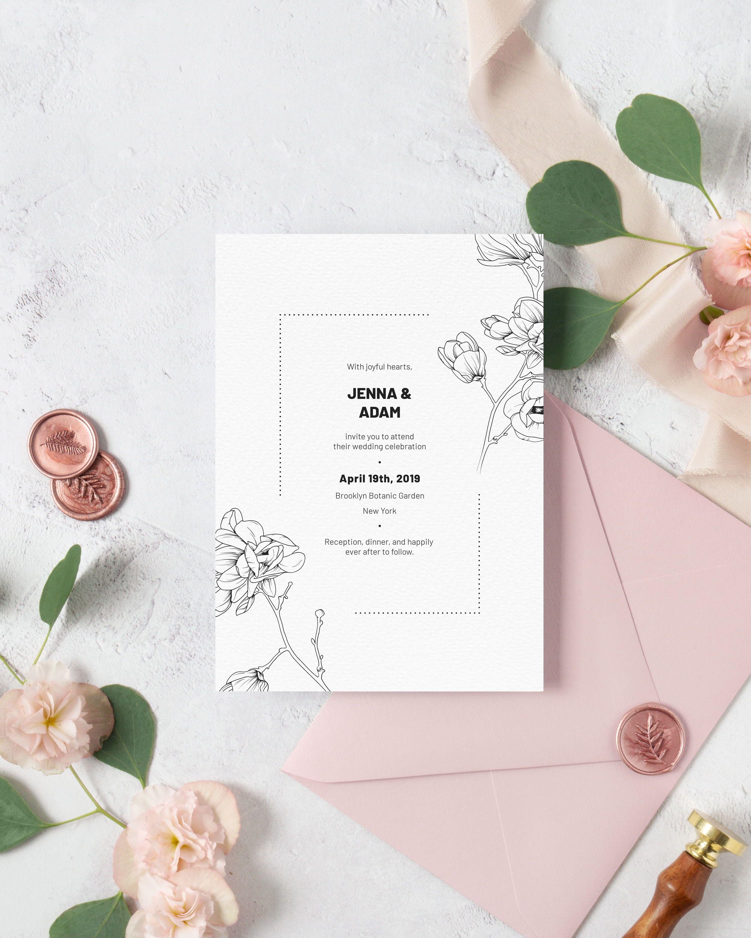 Floral Wedding Invitation Template Modern Black And White Magnolia Wedding Invite Printable Spring Wedding Invitation Cards Mg18 Floral Wedding Invitations Wedding Invitations Wedding Invitation Templates