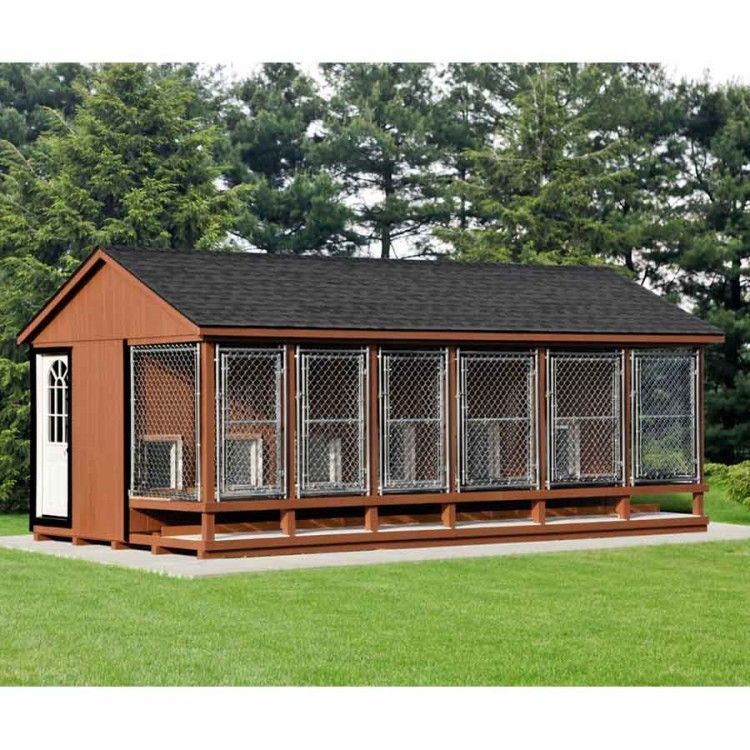 12 x 22 ft amish made large 6 run dog kennel with feed for Building dog kennels for breeding