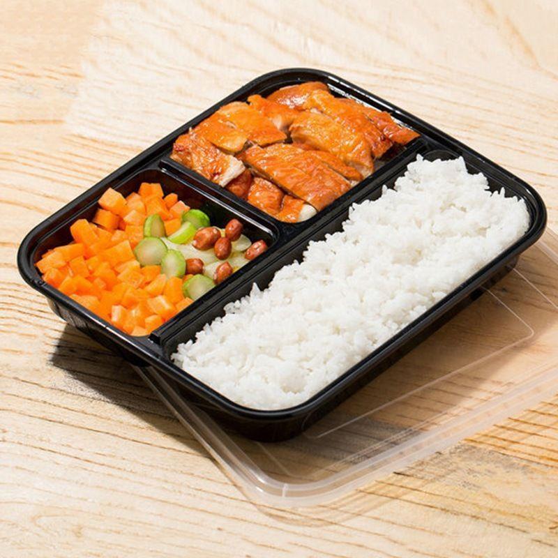 10pcs Disposable Bento Box Portable Lunch Boxes Takeaway Food