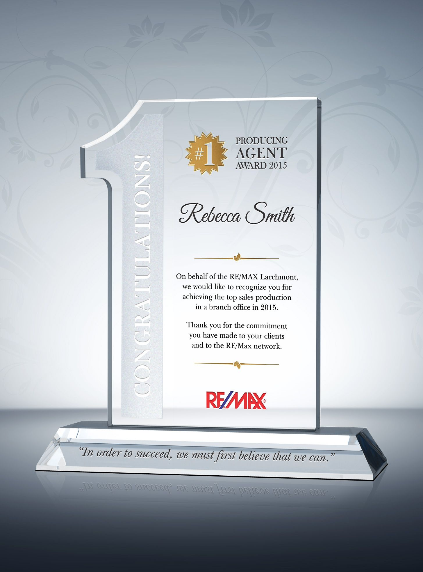 real estate  1 top agent award plaque