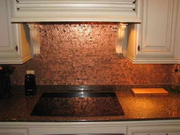 Good Why A Penny Backsplash Is An Unique Accent In The Kitchen Interior?