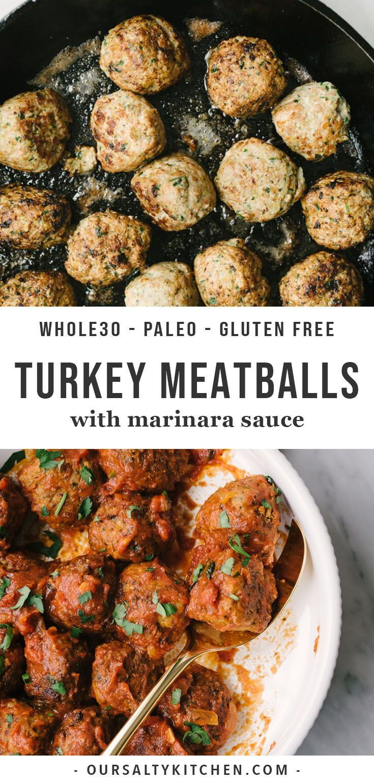 Paleo and Whole30 Ground Turkey Meatballs with Marinara