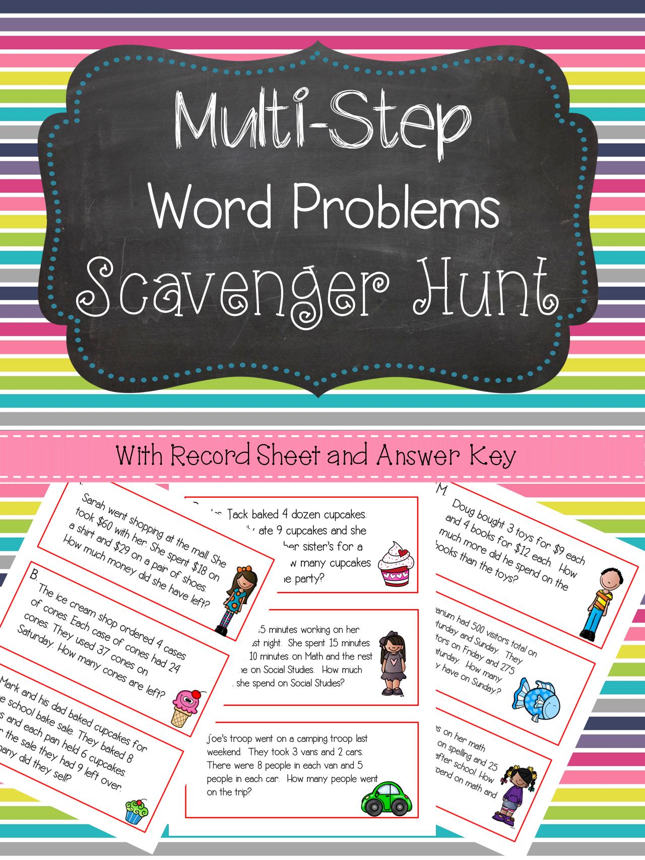 Multi Step Word Problems Scavenger Hunt