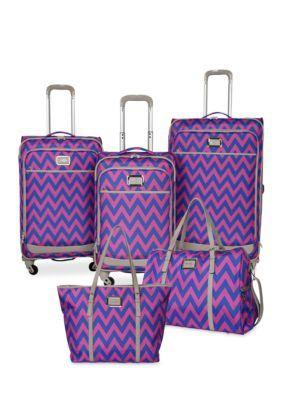 Jessica Simpson  Chevron Luggage Collection - Orchid Blue Chevron