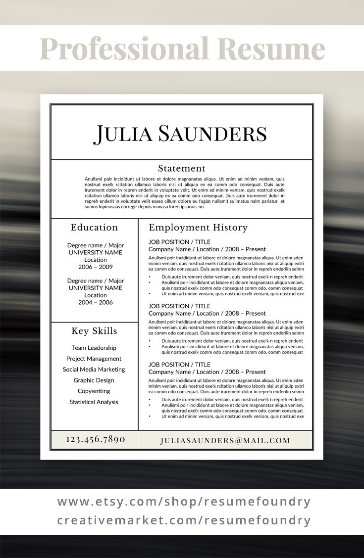 Classic Resume Template for Word, 1-3 Page Resume + Cover Letter + ...