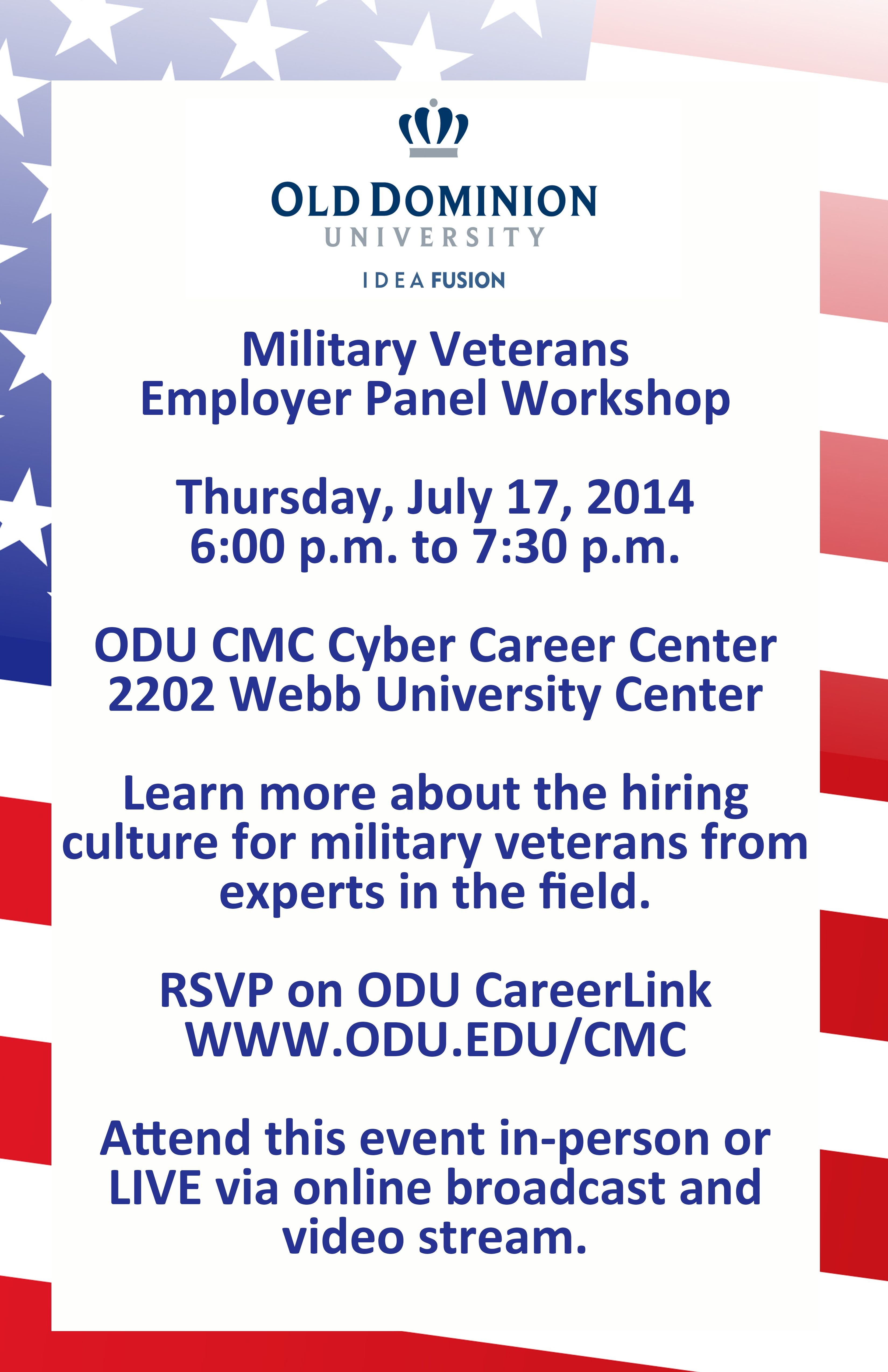 Attention military veterans! Attend the employer panel