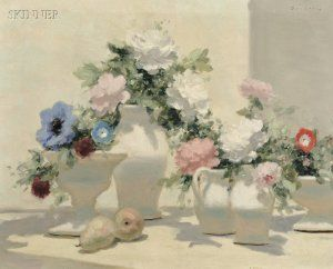 Andre (Gittelson) Gisson (French, 1921-2003)      Still Life with Summer Flowers in White Pitchers
