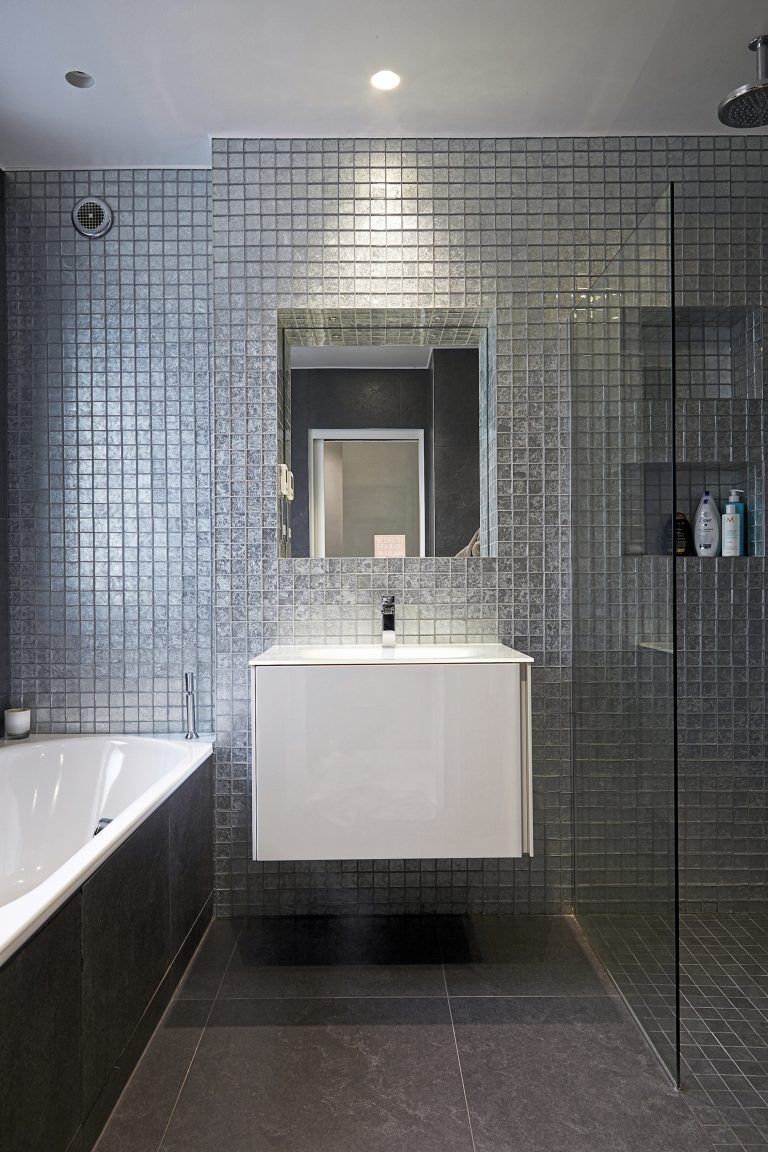 Modern White Vanity With Silver Tiles Icon London Nw7 Ultra Contemporary Location House Shootfactory Tiny Bathrooms Modern Bathroom Ensuite Bathrooms
