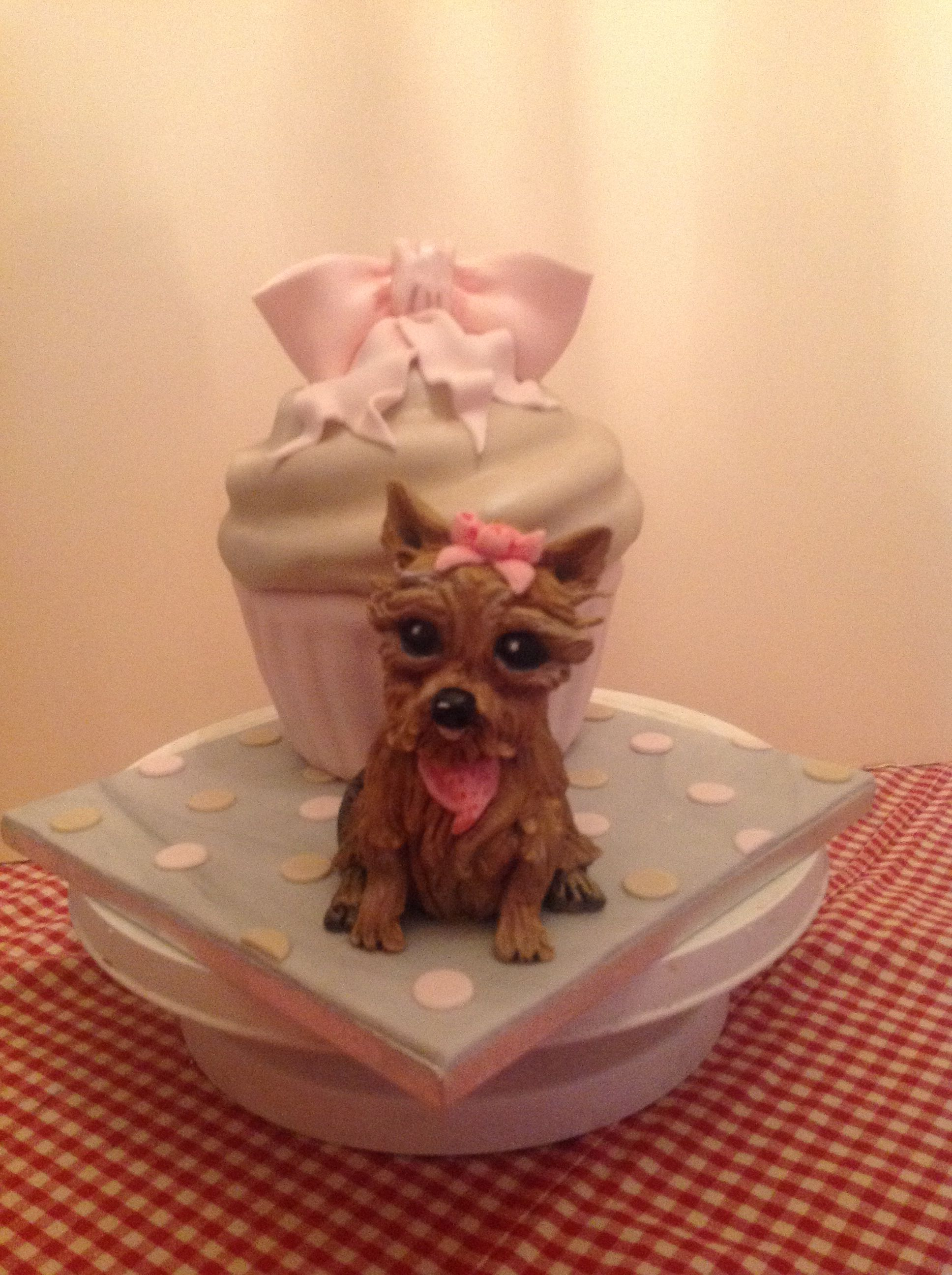 A cute little yorkshire terrier birthday cake