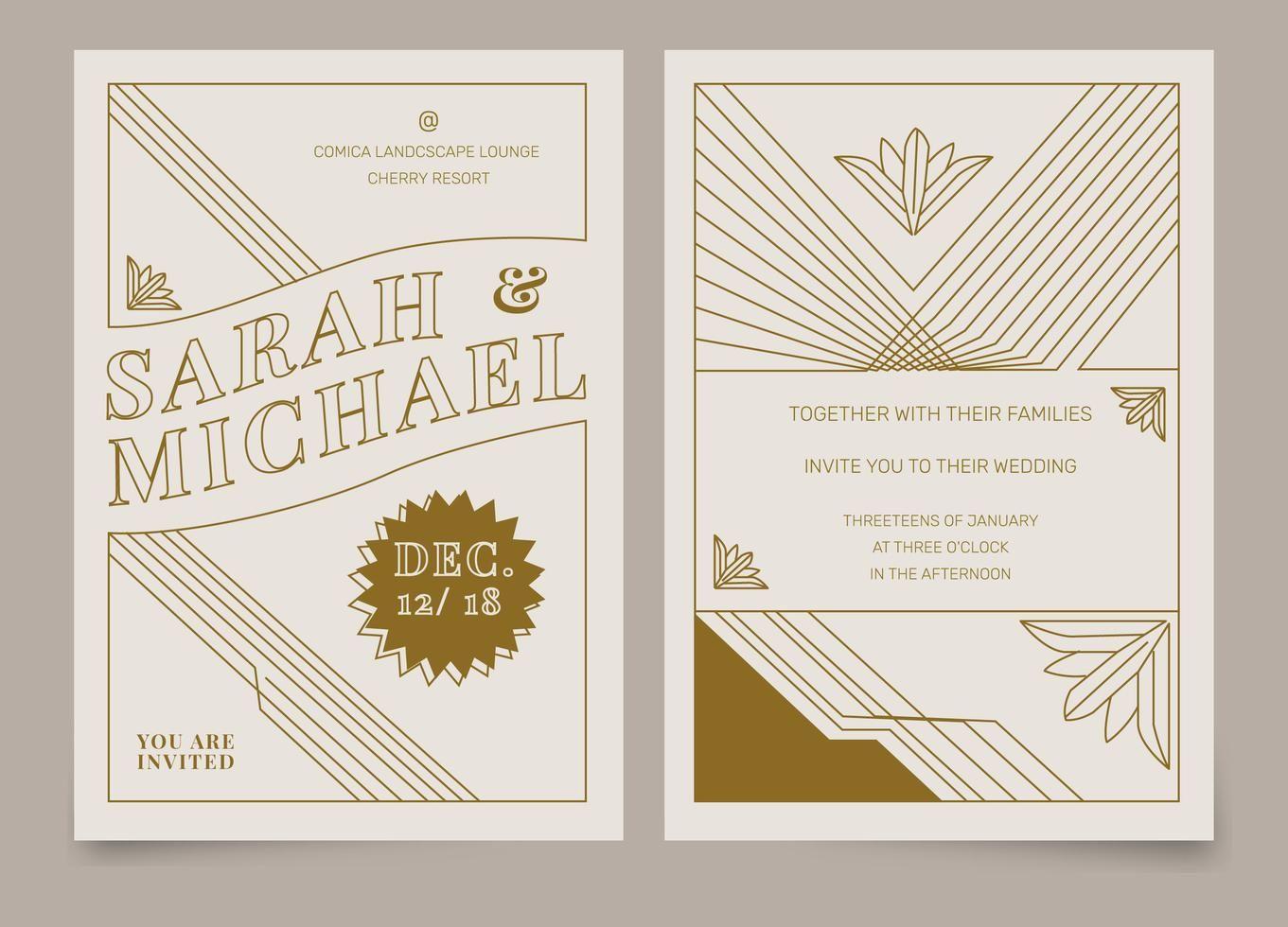 Brown Vintage Art Deco Wedding Invitation Vector Template | Deco invitations,  Art deco wedding invitations, Deco wedding invitations