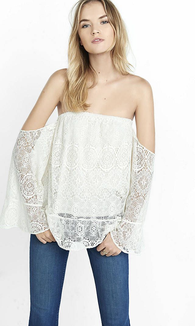 Lace Off-the-shoulder Peplum Blouse from EXPRESS