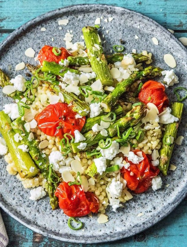 Mediterranean Baked Veggies With Couscous Almonds And Feta