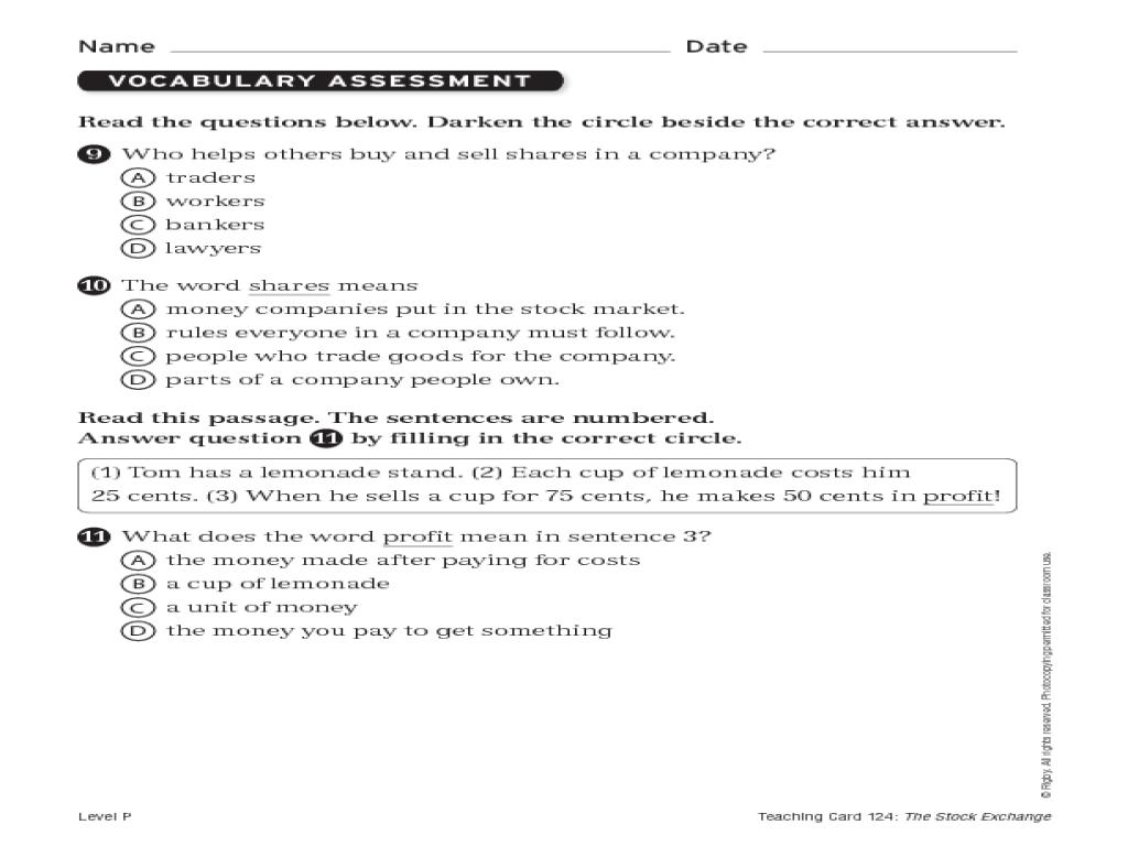 Word Study Assessment Worksheet For 3rd Grade