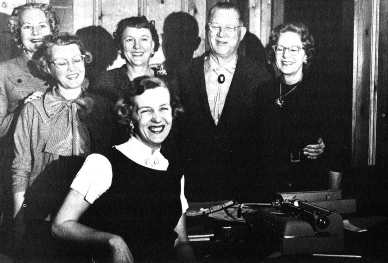 Erle Stanley Gardner With His Secretarial Staff Circa 1958 Helene Seay Honey Moore Peggy Downs Gardner Jean Bethell Millie C Perry Mason Gardner Concert