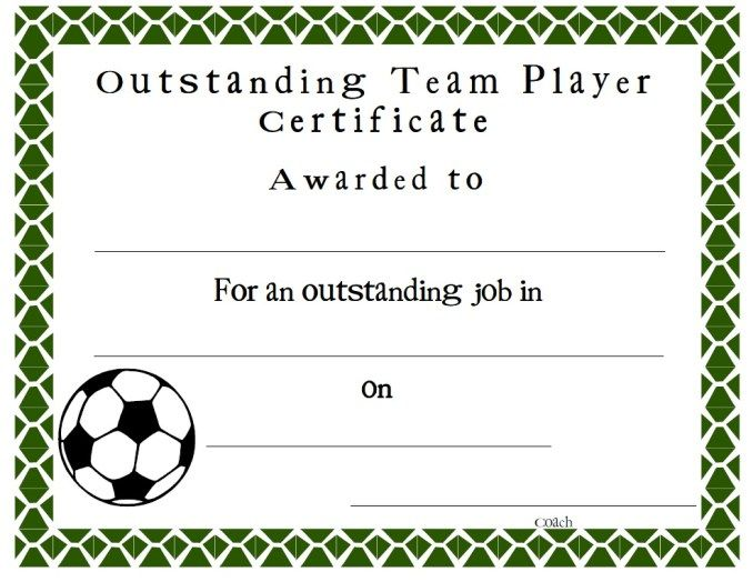 Soccer Certificate  Stationary Templates