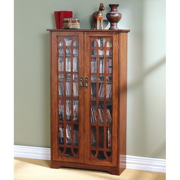 Harper Blvd Glass Paneled 6 Shelf Oak Media Cabinet