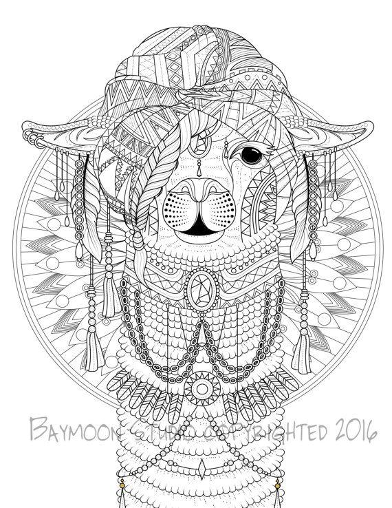 Bohemian llama coloring page