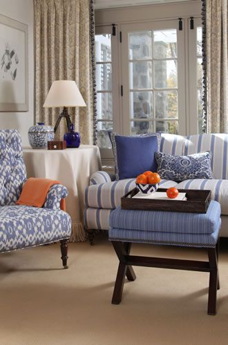 Bronte Fabric Collection Calico Corners Beautiful Mixed Blues And Orange Side Chair Ikat On Sofa