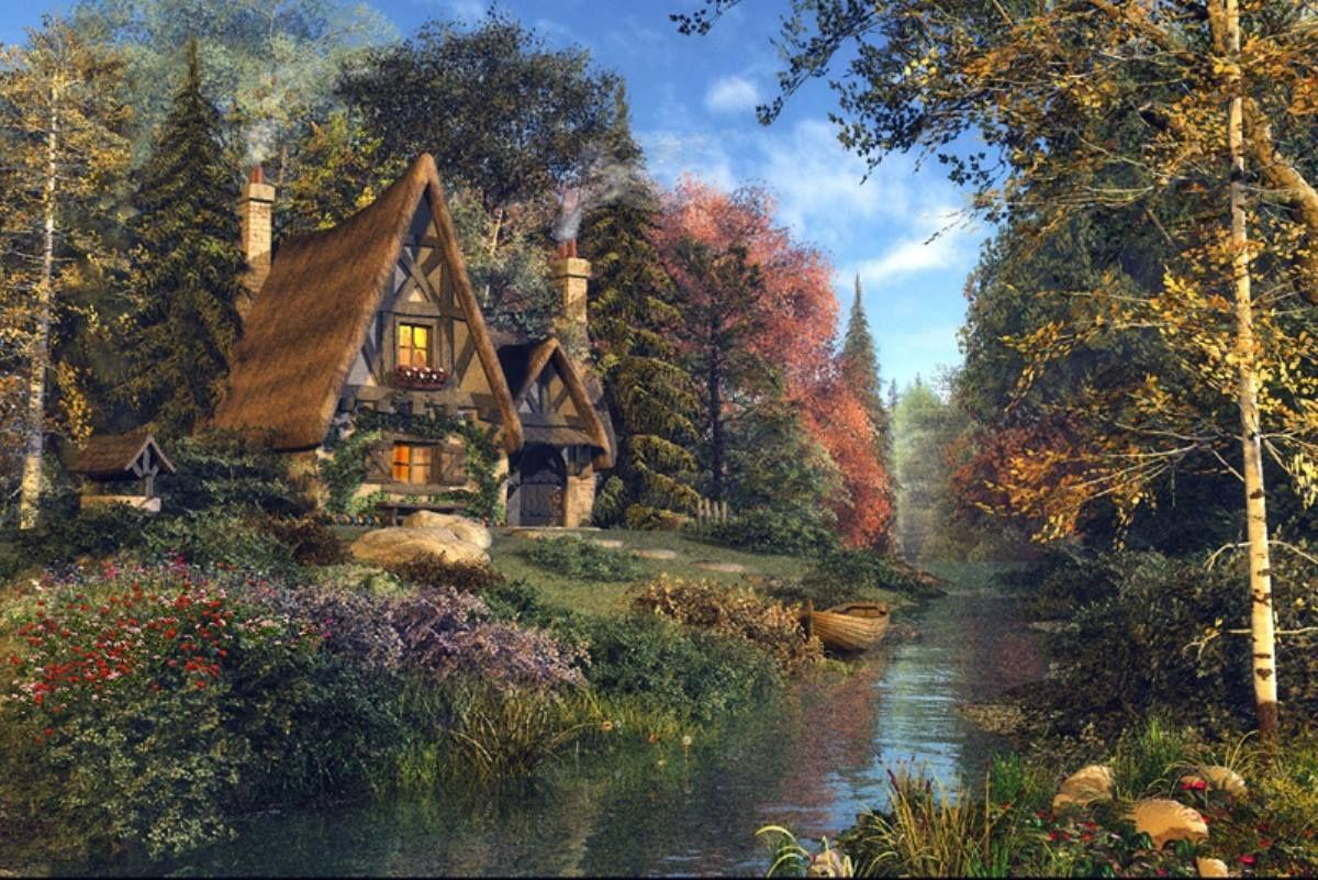 Картинки сказочный домик в лесу, встреча