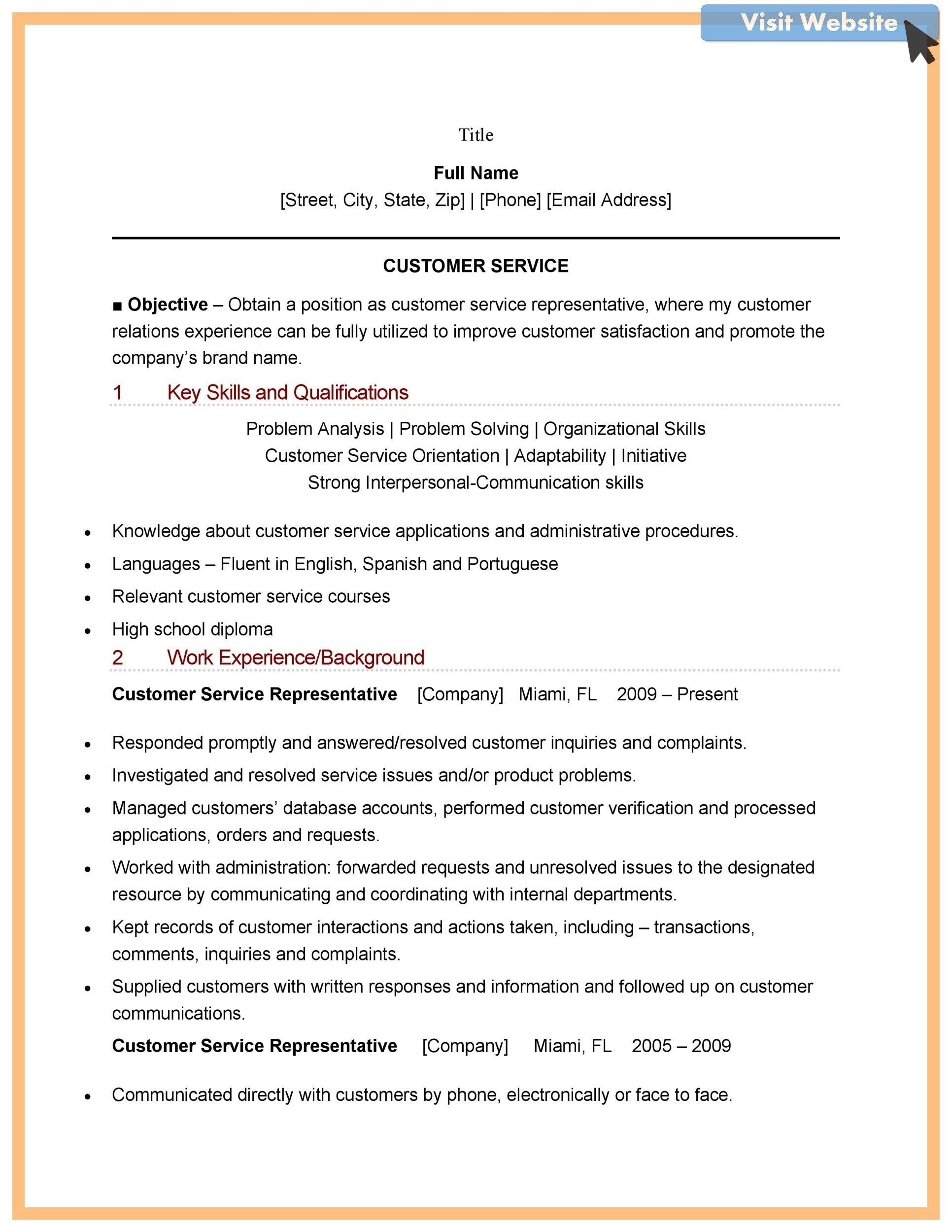customer service advocate resume examples in 2020